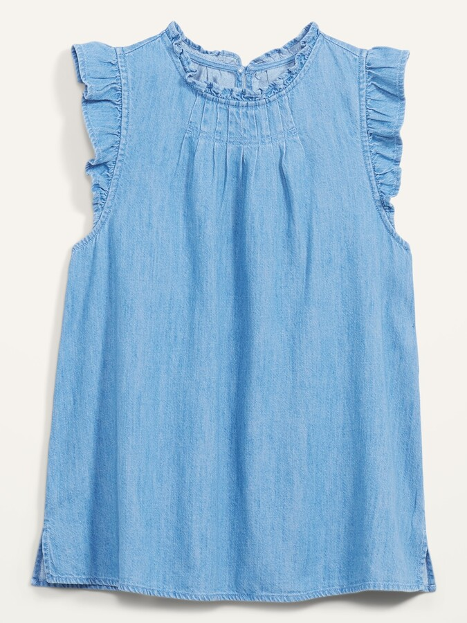 Thumbnail for your product : Old Navy Ruffled High-Neck Sleeveless Jean Top for Women