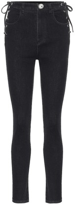 Alessandra Rich Lace-up high-rise skinny jeans