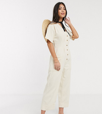 ASOS DESIGN Petite soft denim relaxed boilersuit in ecru
