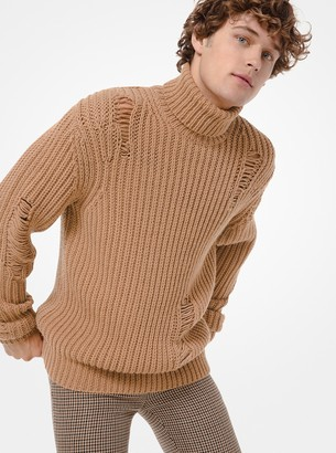 Michael Kors Distressed Ribbed Wool-Blend Turtleneck Sweater