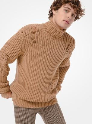 Michael Kors Distressed Ribbed Wool-Blend Turtleneck Sweater