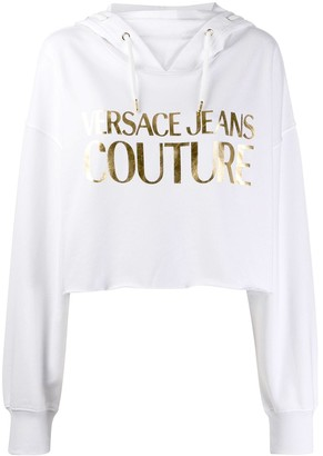 Versace Jeans Couture Cropped Logo Printed Hoodie
