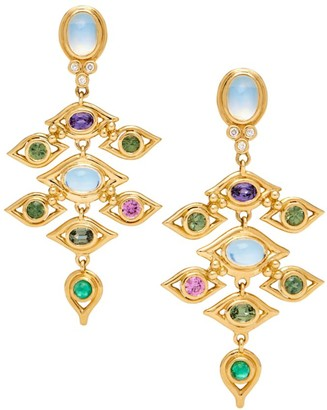Temple St. Clair Nature Deconstructed Campo de' Fiori 18K Yellow Gold, Diamond & Mixed-Stone Earrings