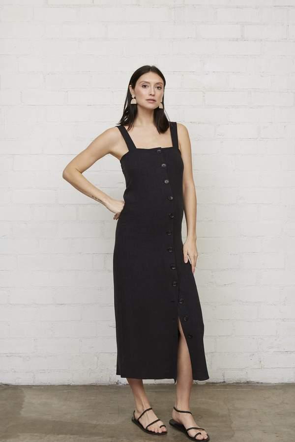 Linen Rome Dress - Black-