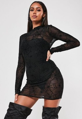 Missguided Black Spider Print Mesh Bodycon Mini Dress