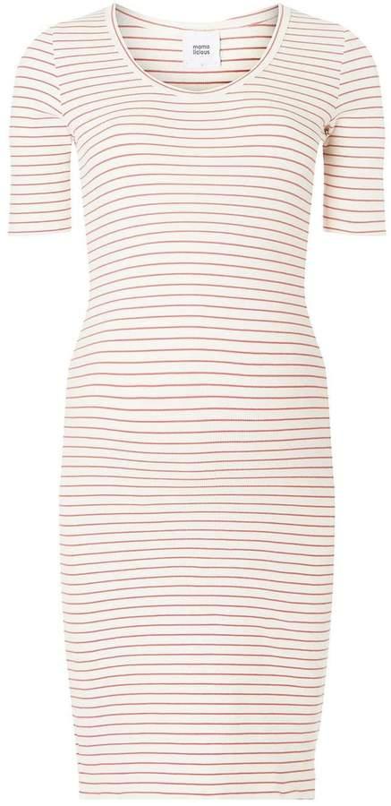 Dorothy Perkins Womens **Mamalicious Maternity Oatmeal Striped Midi Shift Dress