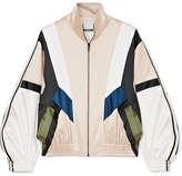 Koché - Striped Paneled Satin Track Jacket - Beige