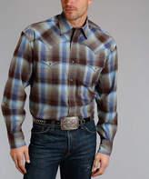 Stetson Bronze & Blue Plaid Twill Button-Up - Men's Regular