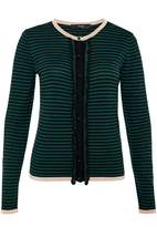Hallhuber Stripe Cardigan With Ruffles