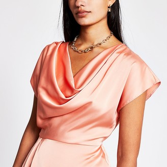 River Island Coral Ss Cowl Neck Top