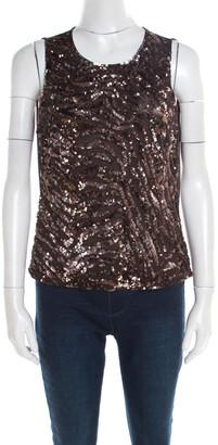 Escada Brown Sequin Embellished Nylon Mesh Sleeveless Top L
