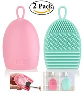 RUIMIO Makeup Brush Cleaner Silicone Brush Egg with Handy Hook Pink Mint Green