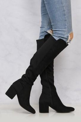 Miss Diva Ivy Blockheel Over Knee Boot In Black Suede