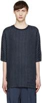 3.1 Phillip Lim Navy Linen Pinstriped T-Shirt