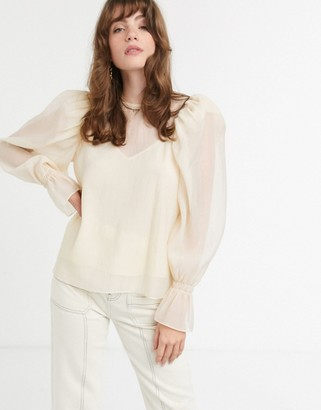 And other stories & puff sleeve chiffon blouse in soft yellow