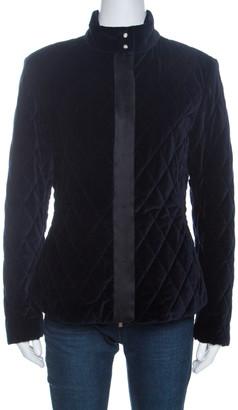 Carolina Herrera CH Navy Blue Velvet Quilted Jacket S