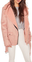 Missguided Faux Suede and Shearling Biker Jacket