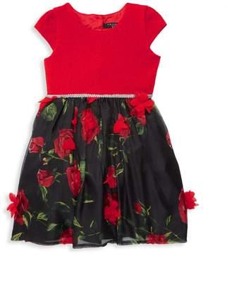 Tahari Little Girl's Rose Jacquard Dress