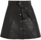 Maje Belted Leather Mini Skirt - Black