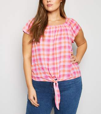 New Look Curves Check Tie Front Top