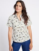 Marks and Spencer Pure Cotton Printed Short Sleeve Shirt