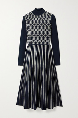 Tory Burch Pleated Stretch Jacquard-knit Midi Dress - Midnight blue