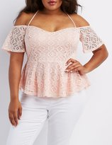 Charlotte Russe Plus Size Off-the-Shoulder Peplum Top