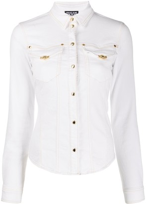 Versace panelled denim shirt
