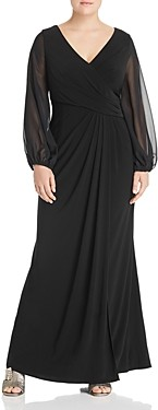 Adrianna Papell Plus Draped Sheer-Sleeve Gown