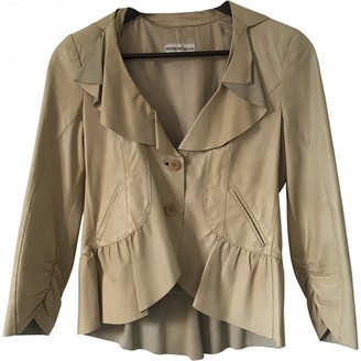 Emporio Armani Beige Leather Jacket for Women Vintage