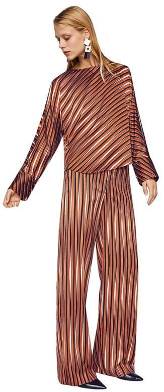 Mango - Orange Stripe Print Satin 'Minnie' Long Sleeve Top