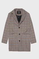 Life In Paradigm - Grey Black And Orange Checkard Wool Coat - M
