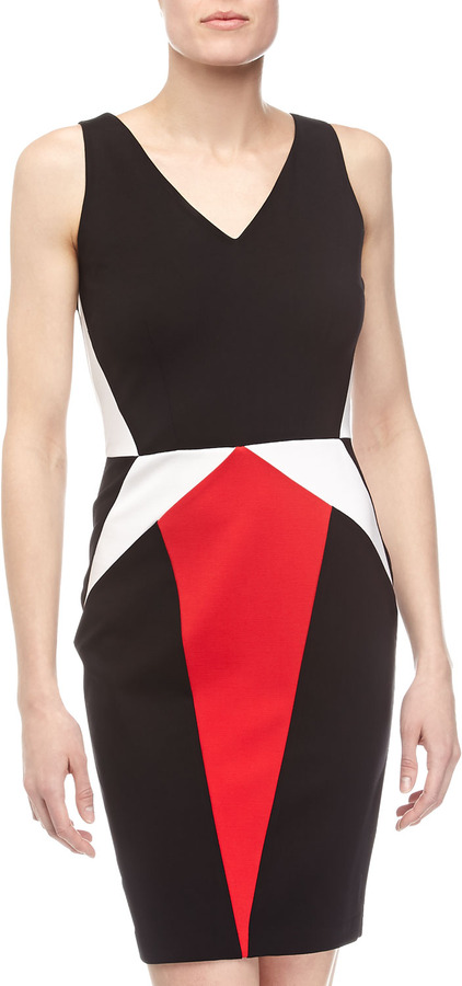 Erin Fetherston Julie Colorblock V-Neck Dress, Black/Multicolor