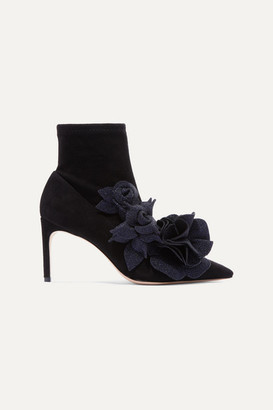 Sophia Webster Jumbo Lilico Appliqued Suede Ankle Boots - Black
