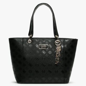 GUESS Kamryn Stamp Black Patent Logo Tote Bag