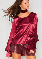 Missy Empire Blair Wine Ruffle Long Sleeved Satin Blouse