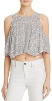 GUESS Flara Striped Cold Shoulder Top