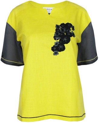 Maraina London Raphaelle Yellow & Grey Short Sleeves Cotton Blouse With Handmade Embroidery