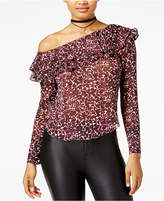 The Edit by Seventeen Juniors' Animal-Print One-Shoulder Top, Created for Macy's