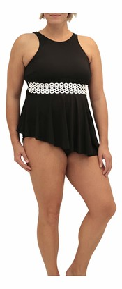 Fit 4 U Women's Plus Size Loopy high Neck Asymmetric Swim top
