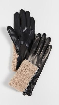 Carolina Amato Leather Shearling Gloves