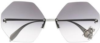 Alexander Mcqueen Eyewear Hexagon Frameless Sunglasses