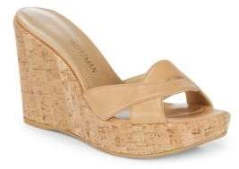 Stuart Weitzman Overit Leather Wedge Sandals