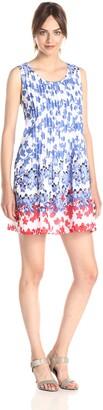 Ivy & Blu Women's Sleeveless Scoop Neck Floral Print Drop Waist Tank Dress
