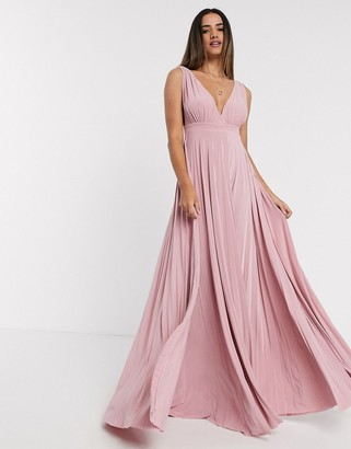 Goddiva pleated dress in light pink
