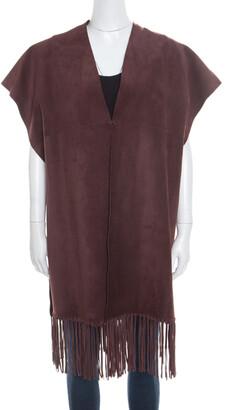 Valentino Burgundy Leather Poncho Style Fringed Hem Jacket S