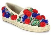 Tory Burch Ellis Pom-Pom Embroidered Leather Espadrille Flats