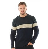 Onfire Mens Striped Cable Sweater Midnight Navy/Plaster/Bottle Green