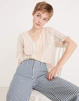Madewell Petite Village Ruffle-Sleeve Shirt in Rainbow Stripe