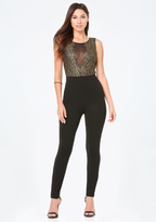 Bebe Gold Lace & Ponte Catsuit